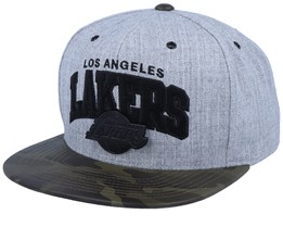 LA Lakers Lux Light Heather Grey/Camo Sanpback - Mitchell & Ness