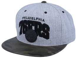 Philadelphia 76ers Lux Light Heather Grey/Camo Sanpback - Mitchell & Ness
