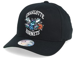 Charlotte Hornets Cotton High Crown Pinch Panel Black 110 Adjustable - Mitchell & Ness