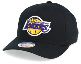 LA Lakers Cotton High Crown Pinch Panel Black 110 Adjustable - Mitchell & Ness