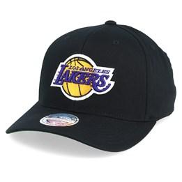fa5186c9 LA Lakers Cotton High Crown Pinch Panel Black 110 Adjustable - Mitchell &  Ness