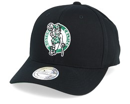 Boston Celtics Cotton High Crown Pinch Panel Black 110 Adjustable - Mitchell & Ness