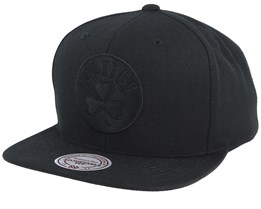 Boston Celtics Black On Black Snapback - Mitchell & Ness