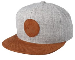 56c00ddce6d42 Boston Celtics Suede Patch Heather Grey Brown Snapback - Mitchell   Ness