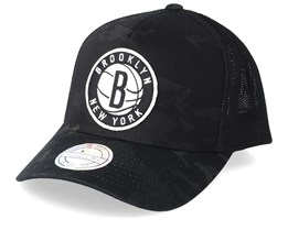 Brooklyn Nets Multicam 110 Black Camo Trucker - Mitchell & Ness