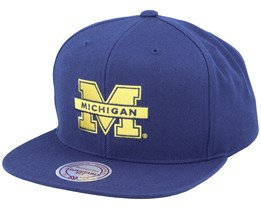Michigan Wolverines Core Wool Solid Navy Snapback - Mitchell & Ness