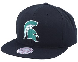 Michigan State Spartans Core Wool Solid Black Snapback - Mitchell & Ness