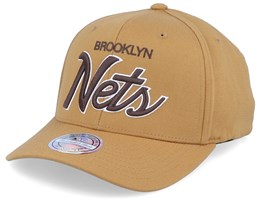Brooklyn Nets Classic Script Rust 110 Adjustable - Mitchell & Ness