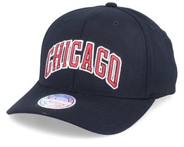 Chicago Bulls Team Name Black/Red 110 Adjustable - Mitchell & Ness