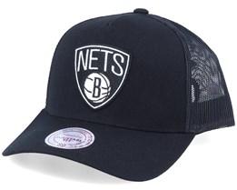 Brooklyn Nets Logo Classic Black Trucker - Mitchell & Ness