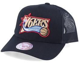 Philadelphia 76ers Logo Classic Black Trucker - Mitchell & Ness