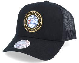 Philadelphia 76ers Hickory Black Trucker - Mitchell & Ness