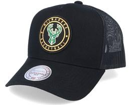 Milwaukee Bucks Hickory Black Trucker - Mitchell & Ness