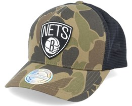 Brooklyn Nets Duck Camo/Black 110 Trucker - Mitchell & Ness