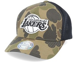 LA Lakers Duck Camo/Black 110 Trucker - Mitchell & Ness