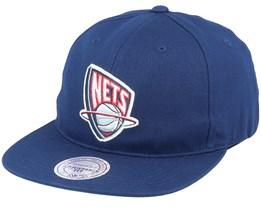 Brooklyn Nets Logo Deadstock Throwback Navy Snapback - Mitchell & Ness