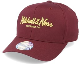 Own Brand Metallic Pinscript Burgundy/Gold 110 Adjustable - Mitchell & Ness