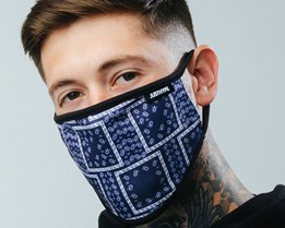 Bandana Squares Blue Face Mask - Hype