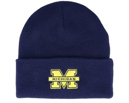 Michigan Wolverines Logo Cuff Knit Navy Cuff - Mitchell & Ness