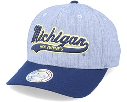 Michigan Wolverines Tailsweep Script Heather Grey/Navy Adjustable - Mitchell & Ness