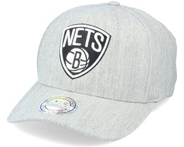 Brooklyn Nets Black/White Logo Heather Grey 110 Adjustable - Mitchell & Ness