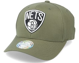 Brooklyn Nets Black/White Logo Olive 110 Adjustable - Mitchell & Ness
