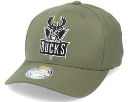 Milwaukee Bucks Black/White Logo Olive 110 Adjustable - Mitchell & Ness