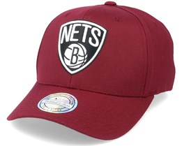 Brooklyn Nets Black/White Logo Burgundy 110 Adjustable - Mitchell & Ness
