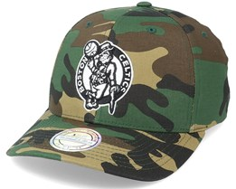 Boston Celtics Black/White Logo Camo 110 Adjustable - Mitchell & Ness