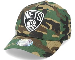 Brooklyn Nets Black/White Logo Camo 110 Adjustable - Mitchell & Ness