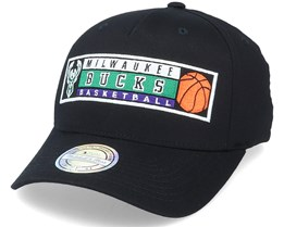 Milwaukee Bucks Basket Patch Black 110 Adjustable - Mitchell & Ness