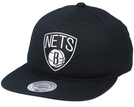 Brooklyn Nets Team Logo Deadstock Throwback Black Snapback - Mitchell & Ness