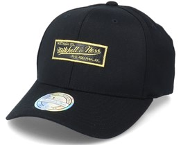 Hatstore Exclusive Own Brand Leather Logo Black/Gold 110 Adjustable - Mitchell & Ness