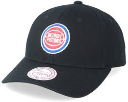 Detroit Pistons Team Logo Low Pro Black Adjustable - Mitchell & Ness