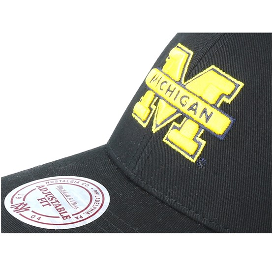 b50ab25cadaed Michigan Wolverines Team Logo Low Pro Black Adjustable - Mitchell   Ness  caps - Hatstoreworld.com