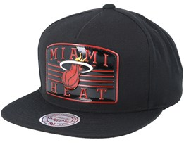 Miami Heat Weald Patch Black Snapback - Mitchell & Ness