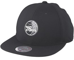 Philadelphia 76ers Check Black Strapback - Mitchell & Ness