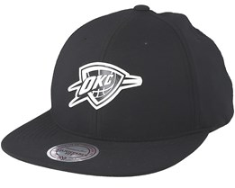 Oklahoma City Thunder Check Black Strapback - Mitchell & Ness