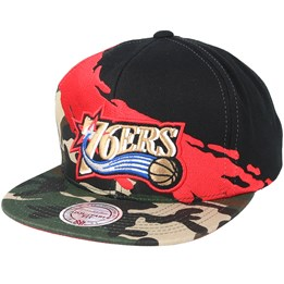 newest fc942 2d620 Mitchell   Ness Philadelphia 76ers Paintbrush Camo Snapback - Mitchell    Ness CA  39.99