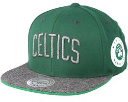 Boston Celtics Melange Patch Green/Grey Snapback - Mitchell & Ness