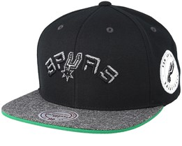 San Antonio Spurs Melange Patch Black/Grey Snapback - Mitchell & Ness