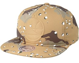 Golden Gate Warriors Emerge Sand Camo Snapback - Mitchell & Ness