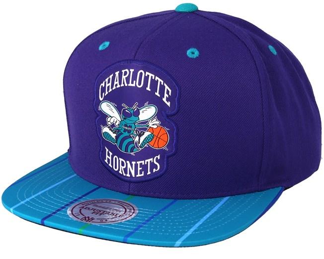 bfee9552696 Charlotte Hornets Diamond Purple Snapback - Mitchell   Ness caps -  Hatstoreworld.com