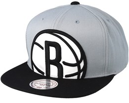 Brooklyn Nets Crop XL Grey/Black Snapback - Mitchell & Ness