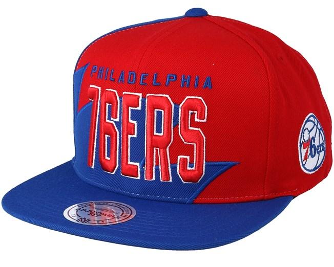 f6108092767 Philadelphia 76ers Shark Tooth Red Blue Snapback - Mitchell   Ness caps -  Hatstore.ae