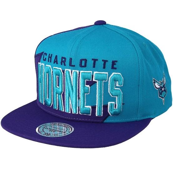 Charlotte Hornets Shark Tooth Teal Purple Snapback - Mitchell   Ness caps -  Hatstoreworld.com d6594b48e2b