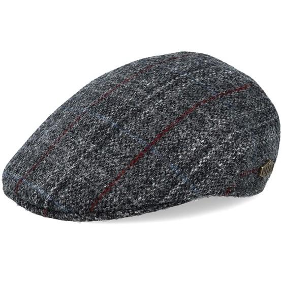 Keps Country Harris Tweed Grey Check Flat Cap - MJM Hats - Grå Flat Caps
