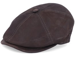 Rebel Nappa Wax Brown Flat Cap - MJM Hats