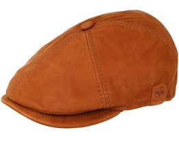 Rebel Nappa Wax Cognac Brown Flat Cap - MJM Hats