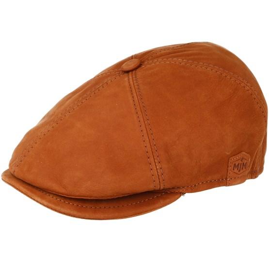 Keps Rebel Nappa Wax Cognac Brown Flat Cap - MJM Hats - Brun Flat Caps
